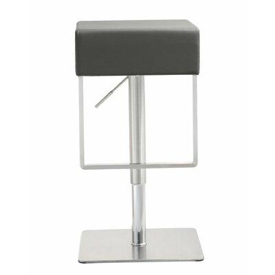 Adjustable Height Swivel Bar Stool Upholstery: Grey