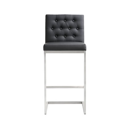 Borough Park 30 Square Bar Stool Upholstery: Black
