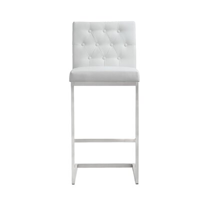 Borough Park 30 Square Bar Stool Upholstery: White