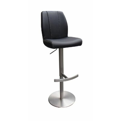 Clower Modern Adjustable Height Bar Stool Upholstery: Black