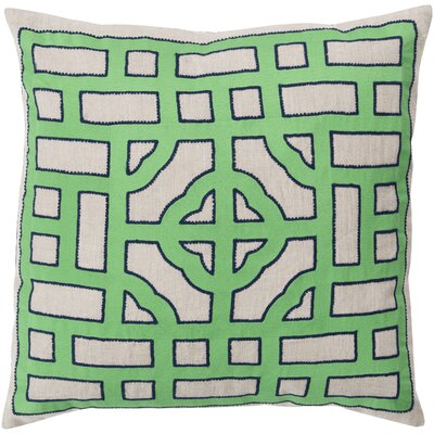 Mcgee Polyester Throw Pillow Color: Ivory/Emerald, Size: 22 H x 22 W x 4 D