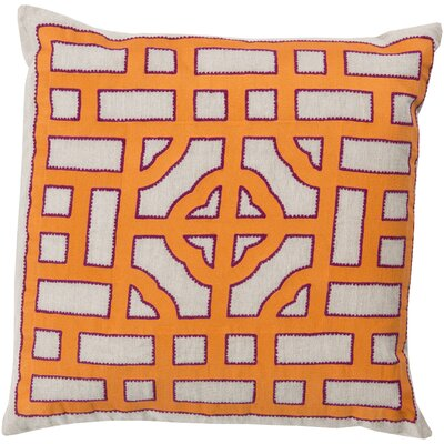 Watson Polyester Throw Pillow Size: 18 H x 18 W x 4 D, Color: Ivory/Orange