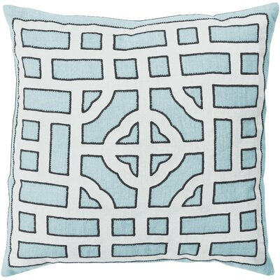 Watson Polyester Throw Pillow Size: 20 H x 20 W x 4 D, Color: Light Blue/White