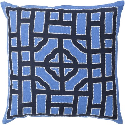 Watson Polyester Throw Pillow Size: 22 H x 22 W x 4 D, Color: Sky Blue/Navy