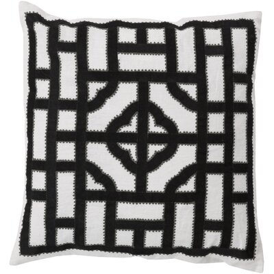 Watson Polyester Throw Pillow Size: 20 H x 20 W x 4 D, Color: Ivory/Black