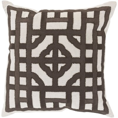 Watson Polyester Throw Pillow Size: 20 H x 20 W x 4 D, Color: Ivory/Charcoal