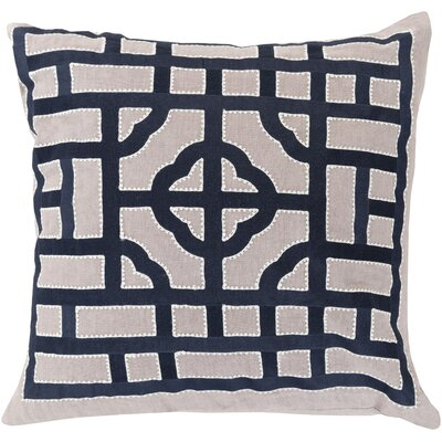 Watson Polyester Throw Pillow Size: 22 H x 22 W x 4 D, Color: Ivory/Navy
