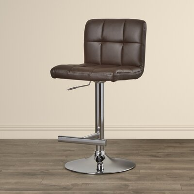 Romeo Adjustable Height Swivel Bar Stool Upholstery: Brown
