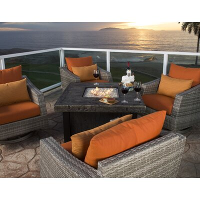 Alfonso 5 Piece Deep Seating Group with Cushions Fabric: Tikka Orange