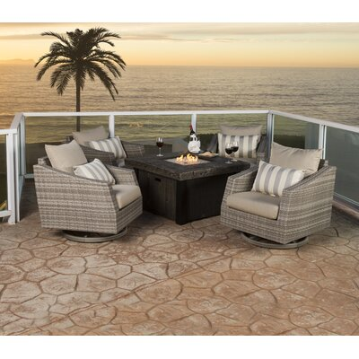 Alfonso 5 Piece Deep Seating Group with Cushions Fabric: Slate