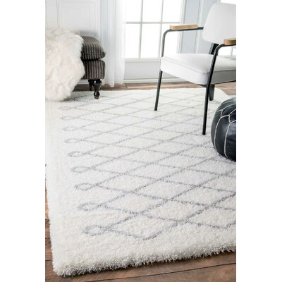 Henson White/Gray Area Rug Rug Size: Rectangle 53 x 76