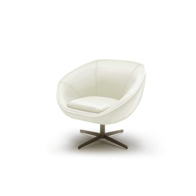 Coalpit Heath Leather Swivel Lounge Chair Seat Color: White
