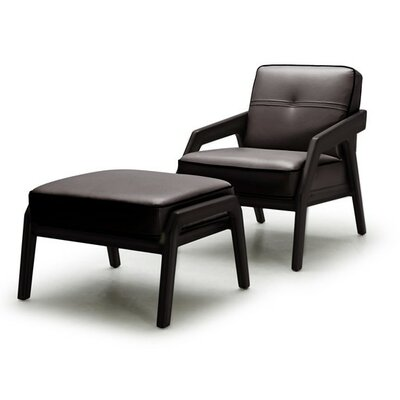 Coalpit Heath Leather Modern Armchair and Ottoman