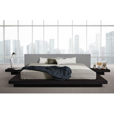 Carter Upholstered Platform Bed Size: Queen, Color: Black Oak