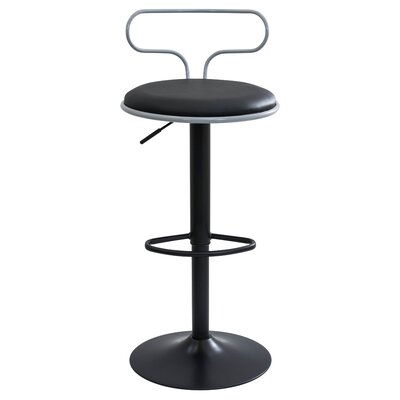 Jasvinder Adjustable Height Swivel Bar Stool Upholstery: Grey