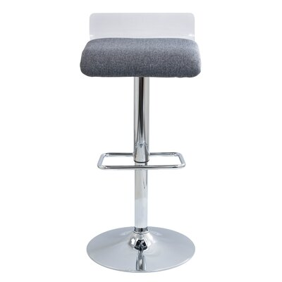 Irwin Adjustable Height Swivel Bar Stool Upholstery: Clear/Grey