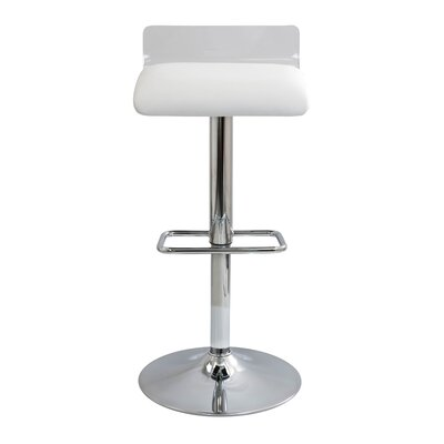Irwin Adjustable Height Swivel Bar Stool Upholstery: Clear/White