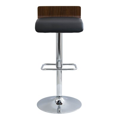 Irwin Adjustable Height Swivel Bar Stool Upholstery: Walnut/Black