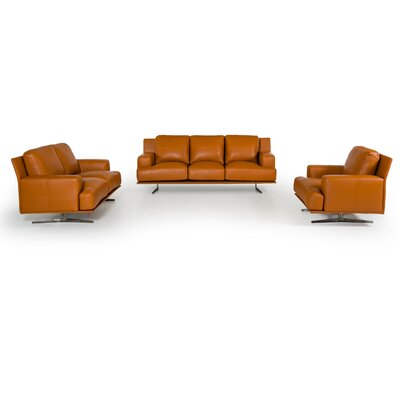 Lane 3 Piece Leather Living Room Set