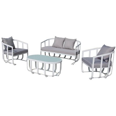 Tallmadge 4 Piece Lounge Seating Group with Cushion Fabric: Taupe