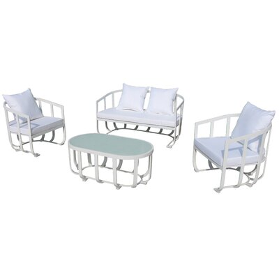 Tallmadge 4 Piece Lounge Seating Group with Cushion Fabric: White