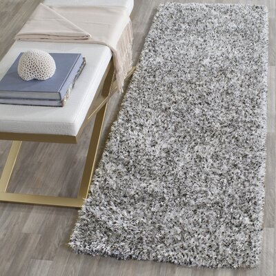 Kenneth Hand-Tufted Gray/Black Area Rug Rug Size: Runner 23 x 7