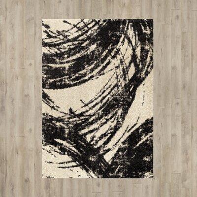 Fred Shag Ivory/Black Area Rug Rug Size: 710 x 1010