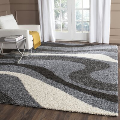 Driffield Gray/Ivory/Back Area Rug Rug Size: Rectangle 9 x 12