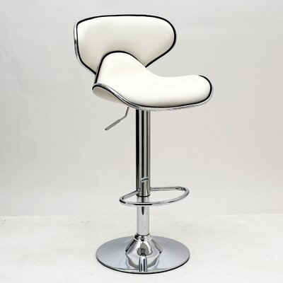 Pablo Adjustable Height Swivel Bar Stool with Cushion Upholstery: White