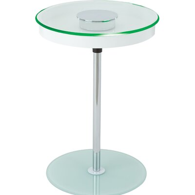 Stephon End Table with LED Light Color: White