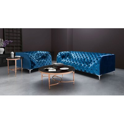 Escobar Chesterfield Sofa Upholstery: Blue