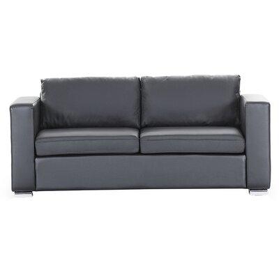 Modern Leather Sofa Finish: Black