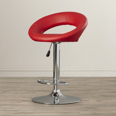 Peralta Adjustable Height Swivel Bar Stool Upholstery: Red