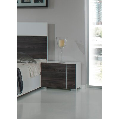 Wesley 2 Drawer Nightstand Finish: White / Grey, Orientation: Left Facing