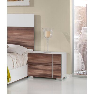 Wesley 2 Drawer Nightstand Finish: White / Cherry, Orientation: Right Facing