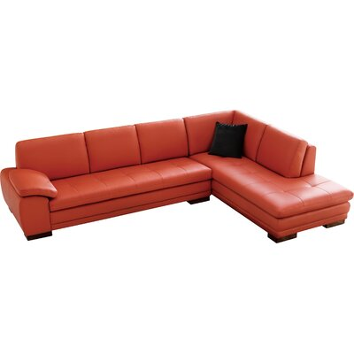 Jerald Leather Sectional Upholstery: Pumpkin, Orientation: Left Hand Facing