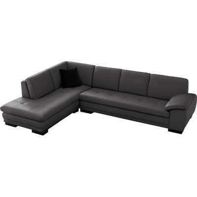 Jerald Leather Sectional Upholstery: Gray, Orientation: Right Hand Facing