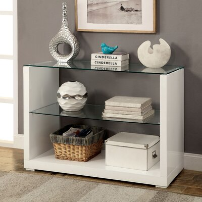 Merrill Glossy-Finish End Table Color: White