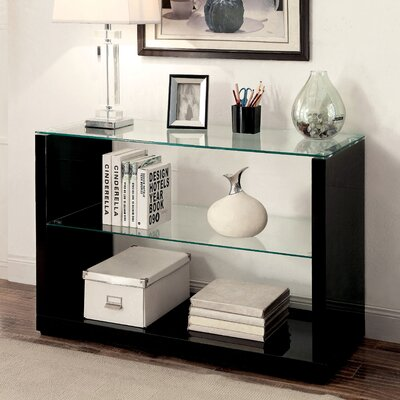 Merrill Glossy-Finish End Table Color: Black