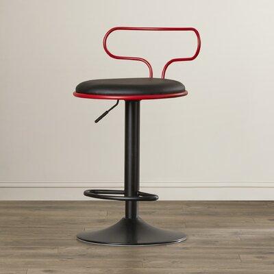 Ibarra Adjustable Height Swivel Bar Stool Upholstery: Red