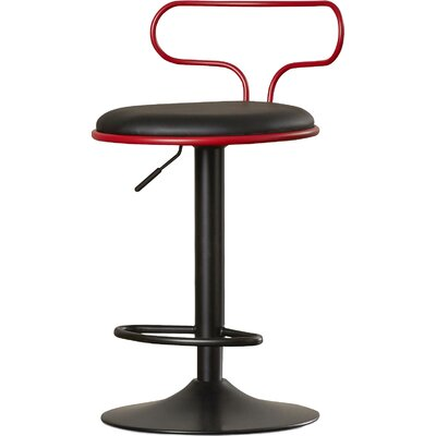 Jasvinder Adjustable Height Swivel Bar Stool Upholstery: Red