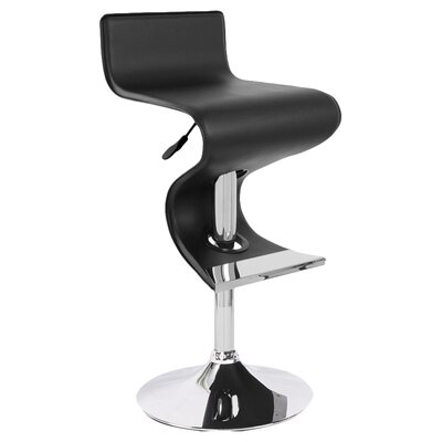 Alton Adjustable Height Bar Stool Upholstery: Black