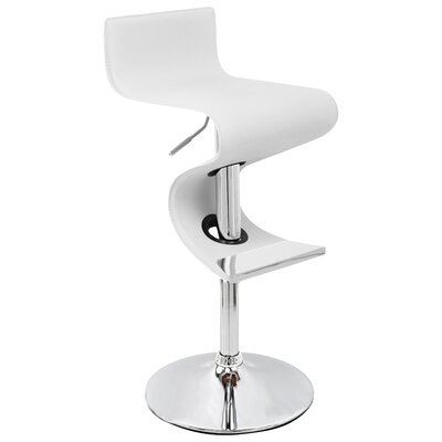 Alton Adjustable Height Bar Stool Upholstery: White