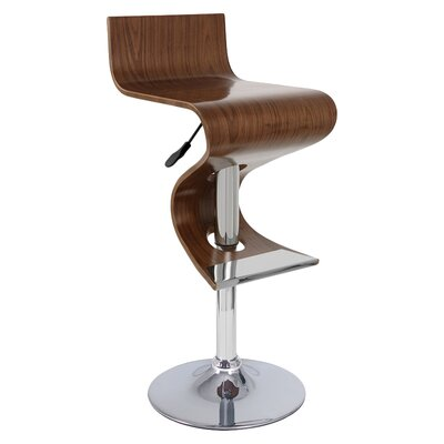 Alton Adjustable Height Bar Stool Upholstery: Walnut