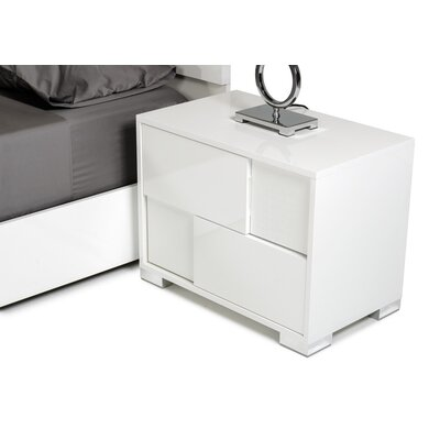 Camron Contemporary 2 Drawer Wood Top Nightstand Finish: White, Orientation: Right Facing