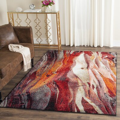 Brodick Red/Gray Area Rug Rug Size: Runner 22 x 12