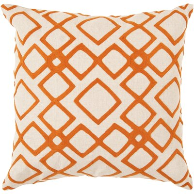 Luka Diamond Linen Throw Pillow Size: 18 H x 18 W x 4 D, Color: Pumpkin / Peach Cream, Filler: Polyester