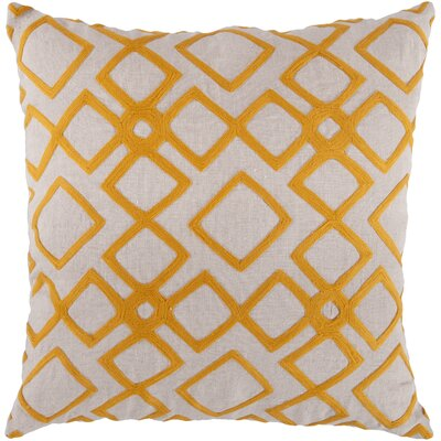 Luka Diamond Linen Throw Pillow Size: 18 H x 18 W x 4 D, Color: Tangerine / Peach Cream, Filler: Down