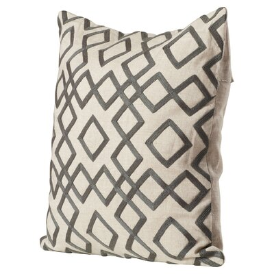 Luka Diamond Linen Throw Pillow Size: 18 H x 18 W x 4 D, Color: Pewter / Feather Gray, Filler: Down