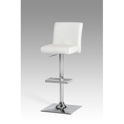 Clower Modern Adjustable Height Swivel Bar Stool Upholstery: White